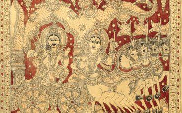Narayana como Krishna a entregar a Gita Upadesha a Arjuna