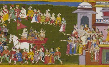 1 Rama partindo de Ayodhya por 14 anos em exílio. Public Domain