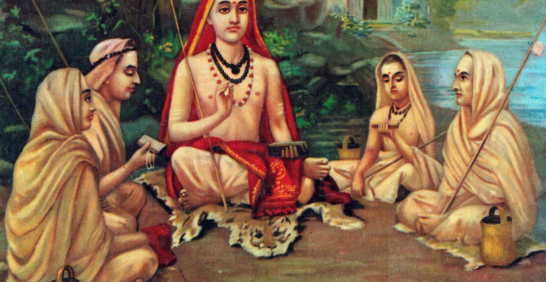 1 Adi Shankara, comentarista dos Upanishads. Domínio Público recortada