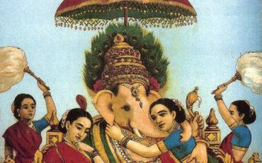 1 Ganesha com seus consortes Riddhi e Siddhi. Pintura chamada Riddhi Siddhi, de Raja Ravi Varma. Domínio Público
